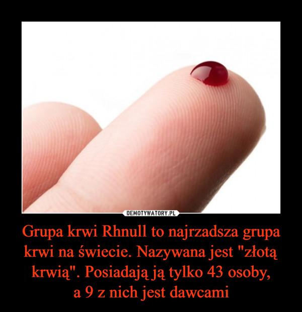 """Grupa krwi Rhnull to najrzadsza grupa krwi na świecie. Nazywana jest """"złotą krwią"""". Posiadają ją tylko 43 osoby,a 9 z nich jest dawcami –"""