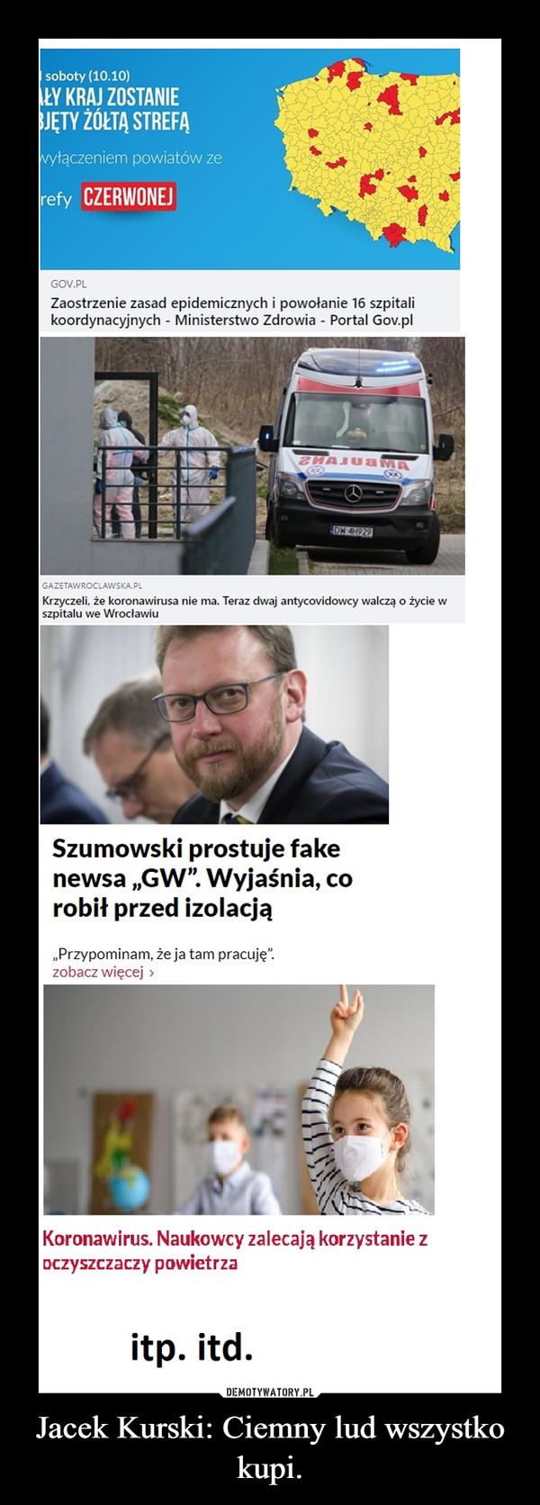 Jacek Kurski: Ciemny lud wszystko kupi. –