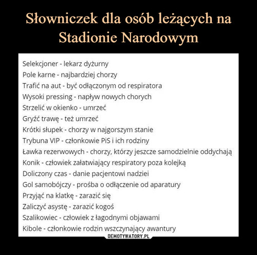 Słowniczek dla osób leżących na Stadionie Narodowym