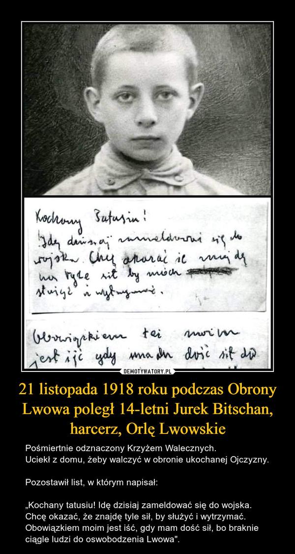 21 listopada 1918 roku podczas Obrony Lwowa poległ 14-letni Jurek Bitschan, harcerz, Orlę Lwowskie