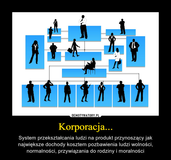 Korporacja... – System przekształcania ludzi na produkt przynoszący jak największe dochody kosztem pozbawienia ludzi wolności, normalności, przywiązania do rodziny i moralności