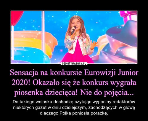 Sensacja na konkursie Eurowizji Junior 2020! Okazało się że konkurs wygrała piosenka dziecięca! Nie do pojęcia...