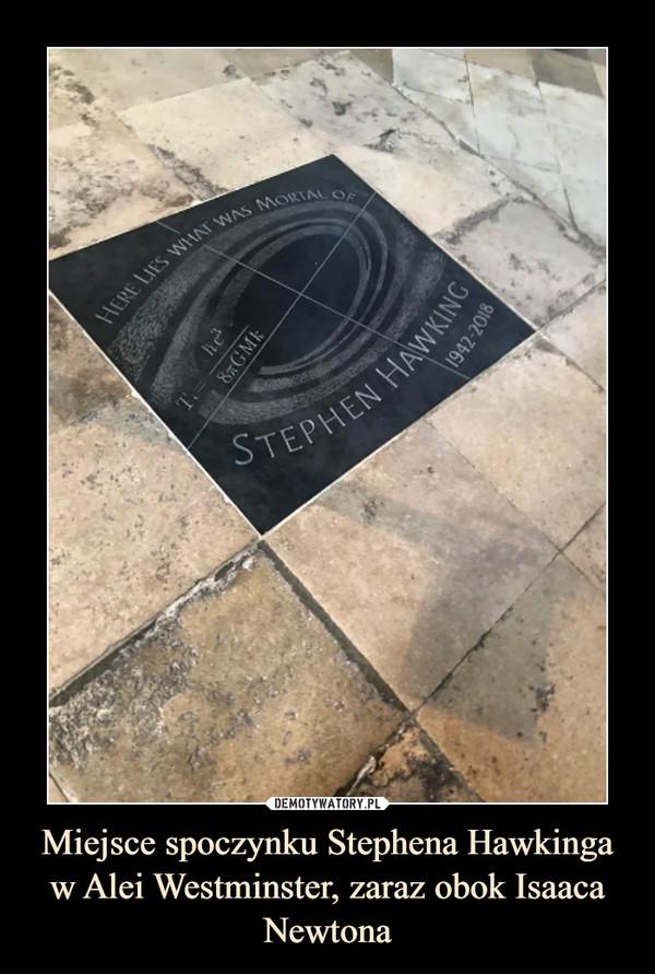 Miejsce spoczynku Stephena Hawkinga w Alei Westminster, zaraz obok Isaaca Newtona –