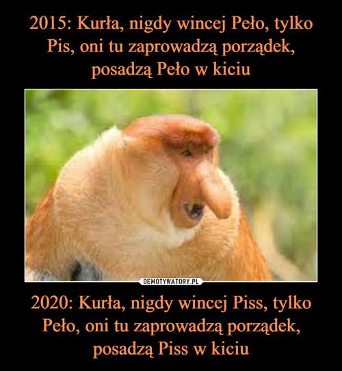2015: Kurła, nigdy wincej Peło, tylko Pis, oni tu zaprowadzą porządek, posadzą Peło w kiciu 2020: Kurła, nigdy wincej Piss, tylko Peło, oni tu zaprowadzą porządek, posadzą Piss w kiciu