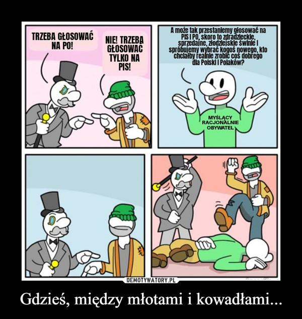 Gdzieś, między młotami i kowadłami... –  A może tak przestanlemy głosować naPISI PO, skoro to zdradzleckle,sprzedajne, złodzlejskle świnle Ispróbujemy wybrać kogoś nowego, ktochclałby realnle zroblc cos dobregodla Polski I Polaków?TRZEBA GŁOSOWAĆNA PO!NIE! TRZEBAGŁOSOWAĆTYLKO NAPIS!MYŚLĄCYRACJONALNIEOBYWATEL