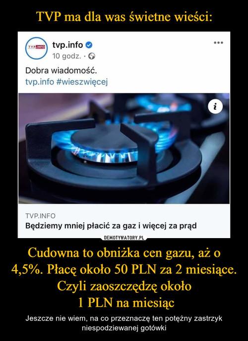 TVP ma dla was świetne wieści: Cudowna to obniżka cen gazu, aż o 4,5%. Płacę około 50 PLN za 2 miesiące. Czyli zaoszczędzę około  1 PLN na miesiąc