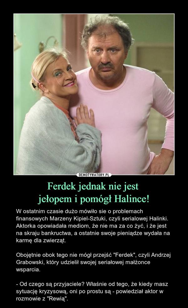 """Ferdek jednak nie jest jełopem i pomógł Halince! – W ostatnim czasie dużo mówiło sie o problemach finansowych Marzeny Kipiel-Sztuki, czyli serialowej Halinki. Aktorka opowiadała mediom, że nie ma za co żyć, i że jest na skraju bankructwa, a ostatnie swoje pieniądze wydała na karmę dla zwierząt. Obojętnie obok tego nie mógł przejść """"Ferdek"""", czyli Andrzej Grabowski, który udzielił swojej seriałowej małżonce wsparcia. - Od czego są przyjaciele? Właśnie od tego, że kiedy masz sytuację kryzysową, oni po prostu są - powiedział aktor w rozmowie z """"Rewią""""."""