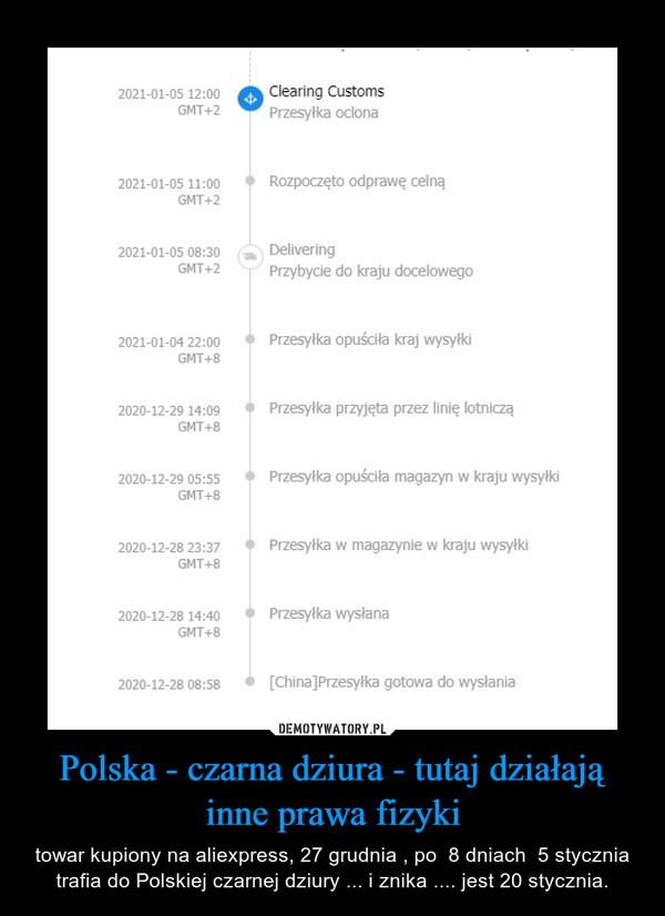 Polska - czarna dziura - tutaj działają inne prawa fizyki – towar kupiony na aliexpress, 27 grudnia , po  8 dniach  5 stycznia trafia do Polskiej czarnej dziury ... i znika .... jest 20 stycznia.