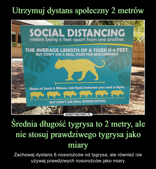 Utrzymuj dystans społeczny 2 metrów Średnia długość tygrysa to 2 metry, ale nie stosuj prawdziwego tygrysa jako miary