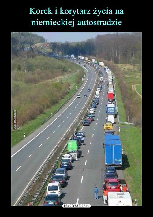 Korek i korytarz życia na niemieckiej autostradzie
