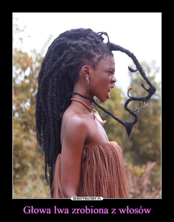 Głowa lwa zrobiona z włosów –