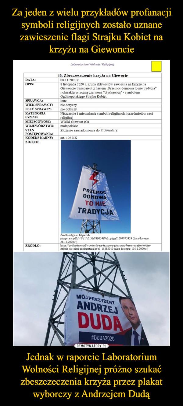 Jednak w raporcie Laboratorium Wolności Religijnej próżno szukać zbeszczeczenia krzyża przez plakat wyborczy z Andrzejem Dudą –