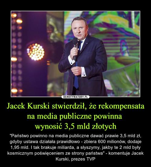 Jacek Kurski stwierdził, że rekompensata na media publiczne powinna  wynosić 3,5 mld złotych