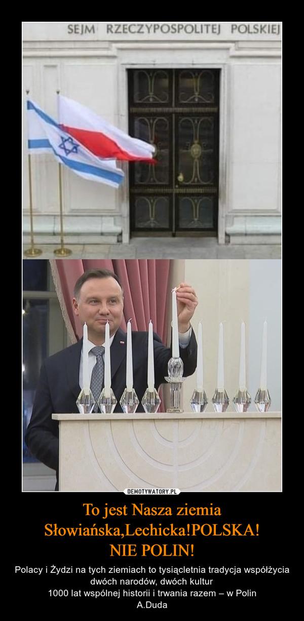 To jest Nasza ziemiaSłowiańska,Lechicka!POLSKA!NIE POLIN! – Polacy i Żydzi na tych ziemiach to tysiącletnia tradycja współżycia dwóch narodów, dwóch kultur 1000 lat wspólnej historii i trwania razem – w Polin A.Duda