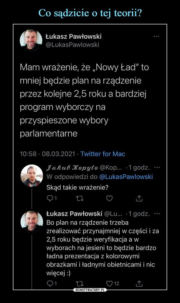 """–  Łukasz Pawłowski@LukasPawlowskiMam wrażenie, że """"Nowy Ład"""" tomniej będzie plan na rządzenieprzez kolejne 2,5 roku a bardziejprogram wyborczy naprzyspieszone wyboryparlamentarne10:58 - 08.03.2021 • Twitter for MacJ&Auft Jtopyto @Kop... -1godz. ••■W odpowiedzi do @LukasPawlowskiSkąd takie wrażenie?Qi       XX        <0 dliŁukasz Pawłowski @Lu... -1godz. ■••Bo plan na rządzenie trzebazrealizować przynajmniej w części i za2,5 roku będzie weryfikacja a wwyborach na jesieni to będzie bardzoładna prezentacja z kolorowymiobrazkami i ładnymi obietnicami i nicwięcej:)"""