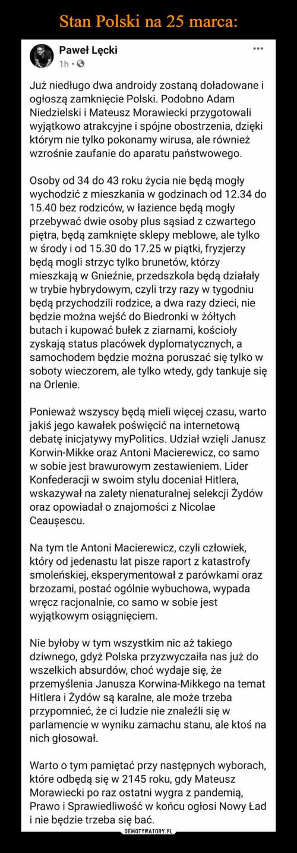 Stan Polski na 25 marca: