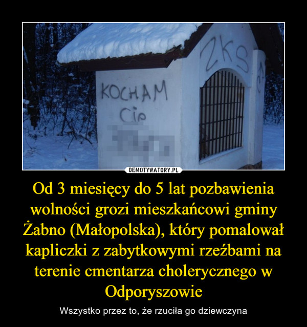 Od 3 miesięcy do 5 lat pozbawienia wolności grozi mieszkańcowi gminy Żabno (Małopolska), który pomalował kapliczki z zabytkowymi rzeźbami na terenie cmentarza cholerycznego w Odporyszowie – Wszystko przez to, że rzuciła go dziewczyna