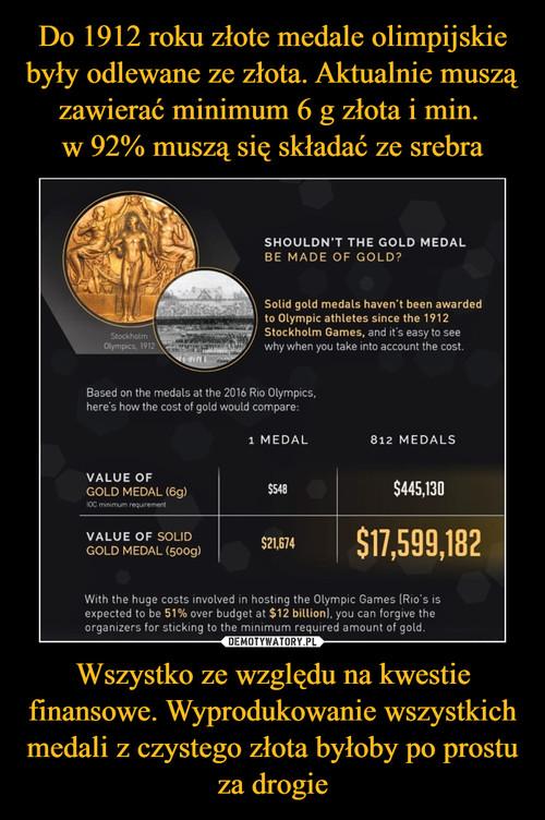Do 1912 roku złote medale olimpijskie były odlewane ze złota. Aktualnie muszą zawierać minimum 6 g złota i min.  w 92% muszą się składać ze srebra Wszystko ze względu na kwestie finansowe. Wyprodukowanie wszystkich medali z czystego złota byłoby po prostu za drogie