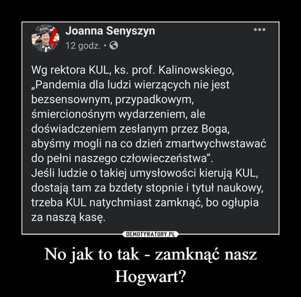 No jak to tak - zamknąć nasz Hogwart? –
