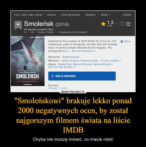 """""""Smoleńskowi"""" brakuje lekko ponad 2000 negatywnych ocen, by został najgorszym filmem świata na liście IMDB"""
