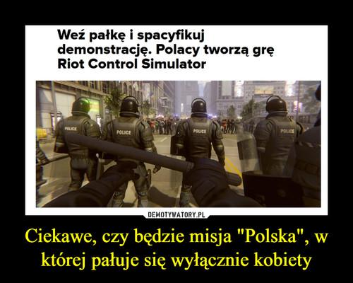 """Ciekawe, czy będzie misja """"Polska"""", w której pałuje się wyłącznie kobiety"""