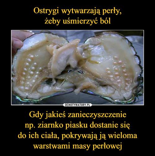 Ostrygi wytwarzają perły, żeby uśmierzyć ból Gdy jakieś zanieczyszczenie np. ziarnko piasku dostanie się do ich ciała, pokrywają ją wieloma warstwami masy perłowej