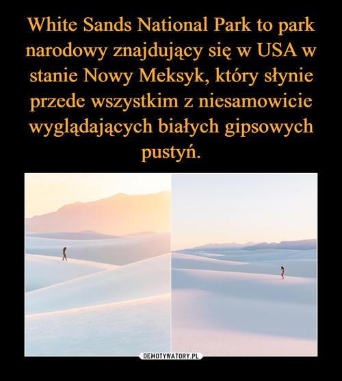 White Sands National Park to park narodowy znajdujący się w USA w stanie Nowy Meksyk, który słynie przede wszystkim z niesamowicie wyglądających białych gipsowych pustyń.