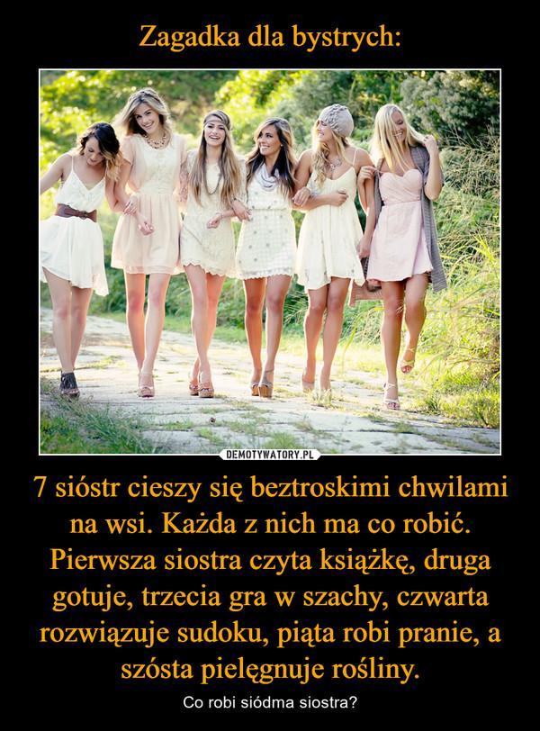 7 sióstr cieszy się beztroskimi chwilami na wsi. Każda z nich ma co robić. Pierwsza siostra czyta książkę, druga gotuje, trzecia gra w szachy, czwarta rozwiązuje sudoku, piąta robi pranie, a szósta pielęgnuje rośliny. – Co robi siódma siostra?