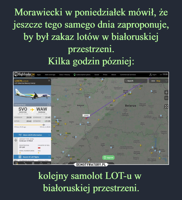 kolejny samolot LOT-u w białoruskiej przestrzeni. –