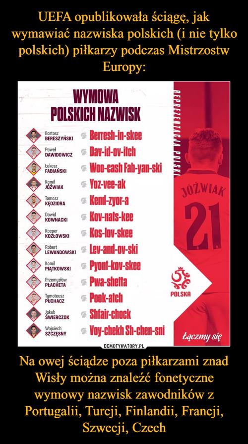 UEFA opublikowała ściągę, jak wymawiać nazwiska polskich (i nie tylko polskich) piłkarzy podczas Mistrzostw Europy: Na owej ściądze poza piłkarzami znad Wisły można znaleźć fonetyczne wymowy nazwisk zawodników z Portugalii, Turcji, Finlandii, Francji, Szwecji, Czech