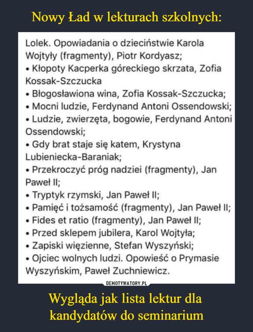 Nowy Ład w lekturach szkolnych: Wygląda jak lista lektur dla  kandydatów do seminarium