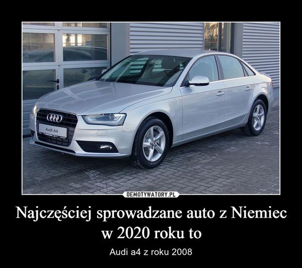 Najczęściej sprowadzane auto z Niemiec w 2020 roku to – Audi a4 z roku 2008