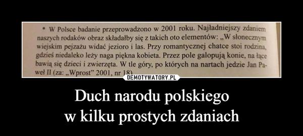 Duch narodu polskiegow kilku prostych zdaniach –