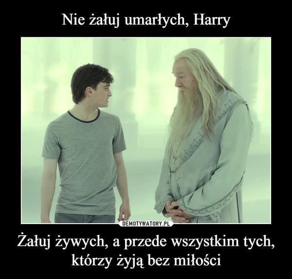 Nie żałuj umarłych, Harry Żałuj żywych, a przede wszystkim tych, którzy żyją bez miłości